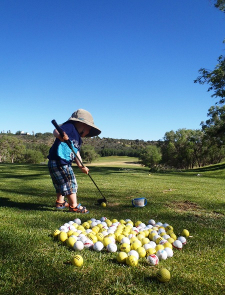 My son 'playing golf' at the Hideout Golf Club- Monticello, UT